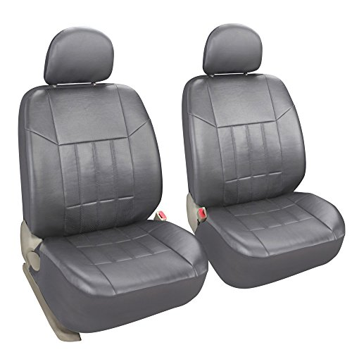 Leader Accessories General 2 Low Back Leather Front Seat Covers Protector Grey with Airbag Universal Fit Truck SUV Cars