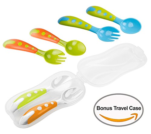 Lullababy Baby Fork and Spoon Set Baby Toddler Utensils with Bonus Travel Carrying Case, Travel Safe Training Perfect Size Feeding Spoon and Fork Set BPA Free, Great Baby Shower Gift - Baby Spoon Curved