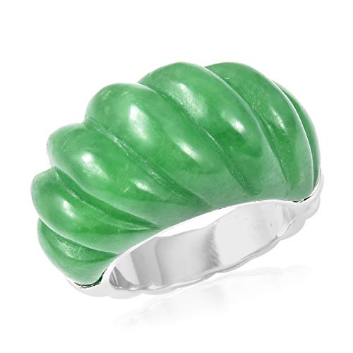 (Promise Ring 925 Sterling Silver Dyed Color Green Jade Jewelry for Women Size 8)