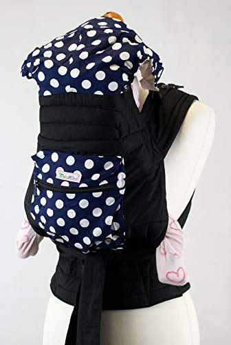 Mei Tai Baby Sling with Hood & Pocket - Blue with White Spots