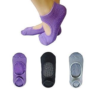 Yoga Socks, 3 Pairs Non Slip Pilates Socks Breathable Sports Socks Girl Women