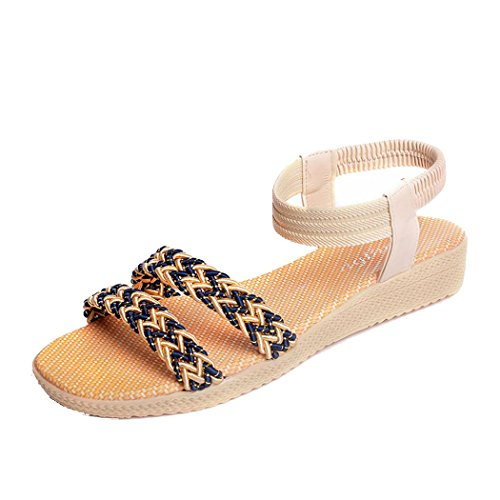 Sandales Dété, Inkach Femmes Chaussures Plates Soild Bohemia Sandales Peep-toe Chaussures Dextérieur Beige