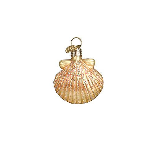 (Old World Christmas Glass Blown Ornament with S-Hook and Gift Box, Sea Shell Collection (Mini Clam)