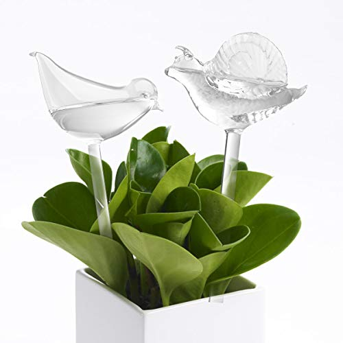 (2 Pack) Glass Self-Watering Stakes Water Globe Automatic Irrigation Device For Indoor & Outdoor Plants Garden Patio Flower Pot Hanging Planters ()