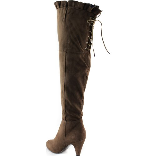 Women's Suede 14 Shoes Thigh Breckelle'S Taupe High Boots Leann Taupe 4xvgRq4wr