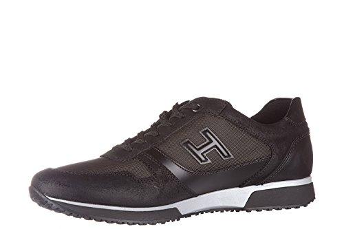 Hogan scarpe sneakers uomo in pelle nuove h198 nero