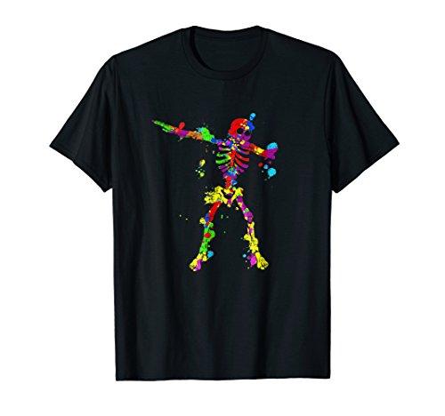 Dabbing Skeleton Shirt - 80s Neon Paint Splatter Dab Dance