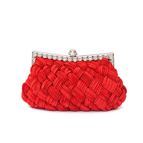 With Knitted Evening Bag Tote Bag Bride Day Clutch Party Clutch amp;OS ZJ Chains Red Women's Diamond wC5gnvq