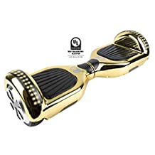Gyrocopters Pro 2.0 - Hoverboard UL2272 Chrome Gold Certified with GPS, APP, Bluetooth, Speakers and LED Lights. 2018 Model and Best self Balance Software. Front and Top LED Light for Safety