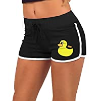 ZhiqianDF Women Cute Duck Black Athletic Yoga Adjustable Low Waist Hot Shorts