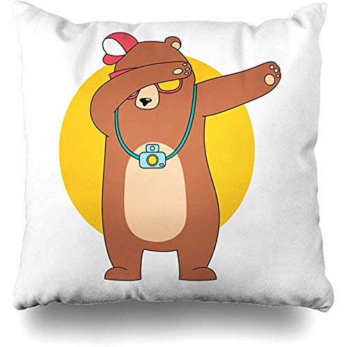 Staroind Cartoon Wearing Cute Little Hats Eye Glasses and Bear Animal Arctic Art Square Decorative Pillow Case 18 x 18 inch Zippered Pillow Cover for Bedroom Living Room