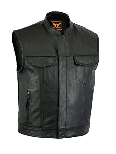 Leather Apparel Biker (A&H Apparel Mens Genuine Cowhide Leather Vest Biker Vest Concealed Carry Durable Vest (Medium))
