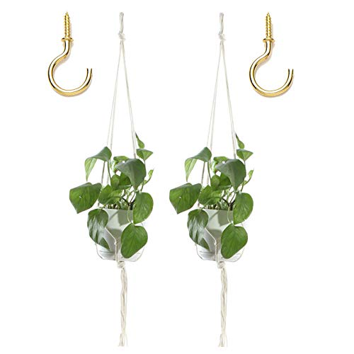 XeeDoo Macrame Plant Hangers,Handmade Natural Cotton Rope Plant Flowers Basket Holder with Ceiling Hooks for Indoor Outdoor Decorations,(2 Pack Hangers+2 Pack Hooks)