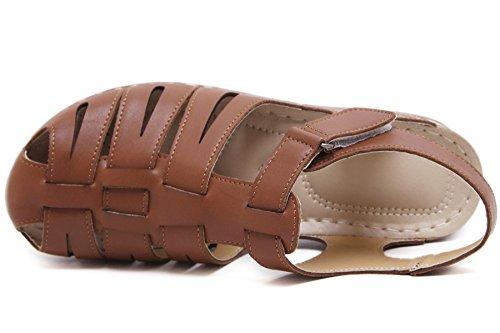Sandalias de Tejido para Mujer Cuña Velcro Zapatos De BIGTREE Sole suave Sandalias de Fisherman Marrón