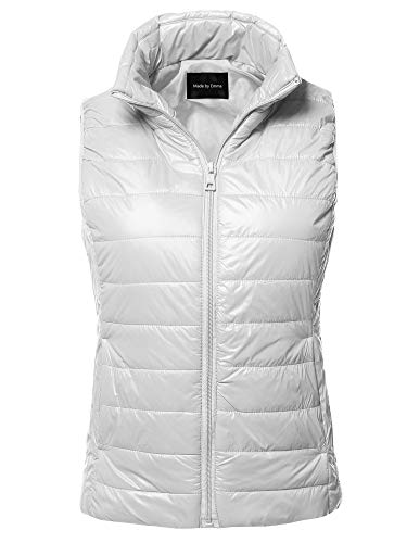 (Made by Emma Casual Light Weight Quilted Padding Vest White S)