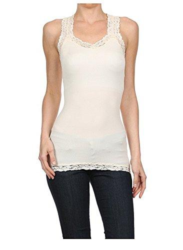 Enimay Women's Camisole Shirt Spaghetti Strap Tank Top Adjustable Nylon Spandex Ivory One Size (Lined Nylon Camisole)