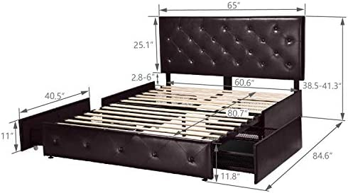 Amolife Faux Leather Upholstered Queen Bed Frame with 4 Storage Drawers and Button Tufted Headboard, Mattress Foundation with Wood Slat Support and Under Bed Storage, Easy Assembly, Black-Brown