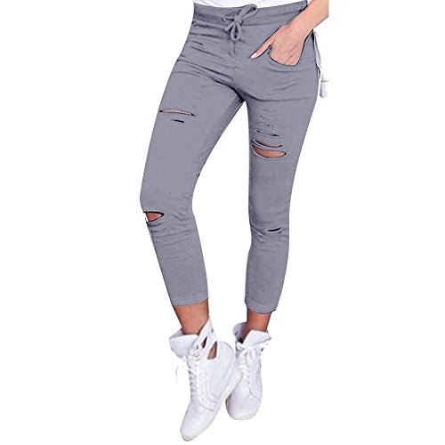Han Shi Leggings, Women Skinny Sexy Ripped Pants High Waist Stretch Slim Pencil Trousers (M=(US S), Gray)