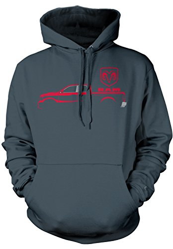 Amdesco Men's Ram Trucks, Red Truck Silhouette Hooded Sweats