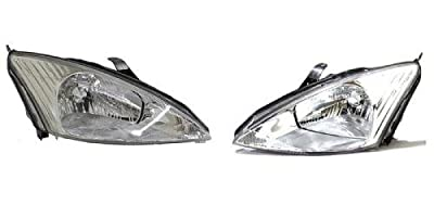 PAIR/SET - Compatible 2000 - 2002 Ford Focus Front Headlights Headlamps Assemblies Front Housing / Lens / Cover - Left & Right (Driver & Passenger) Side - (LX + SE + Sony Limited Edition + ZTS +)