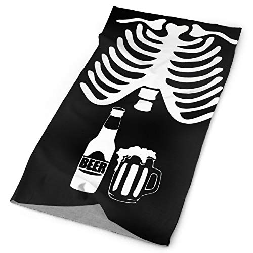 Techdecorhomee Magic Scarf Headwear Skull Ribcage Skelecton Halloween Beer Headbands Bandana Cap Scarf Face Mask Neck Gaiter Headwrap Balaclava Sweatband for Cycling Motorcycle -