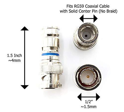 THE CIMPLE CO - BNC Compression Connector for RG59 Coaxial Cable | Solid Construction with High Grade Metals | Male BNC Connectors for CCTV, SDI, HD-SDI, Siamese, Security Camera | Pack of 100 by THE CIMPLE CO (Image #3)