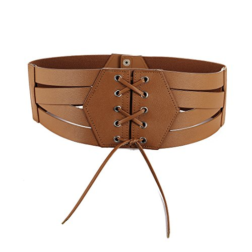 Women Elastic High Waist Cinch Belt Faux PU Leather and Stretch Sash for Ladies Wide Band Corset Belt Plus(Brown,M)