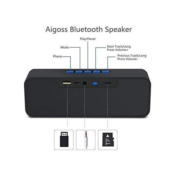 Enceinte Bluetooth Portable, Aigoss Haut Parleur sans Fil, Bluetooth 4.2 Subwoofer, Son HD Stéréo, Mains Libres Téléphone, Radio FM, Carte TF Support, pour iPhone, iPad, Samsung etc 4