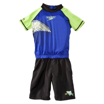 (Speedo Boys Blue Black & Green Swimming Suit Swim Trainer Flotation Small/medium)