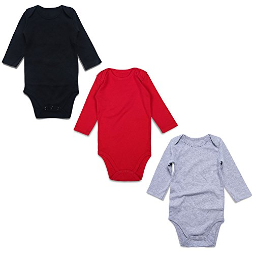 OPAWO Baby Bodysuits Long Sleeve for Unisex Boys Girls 3 Pack (6-9 Months, Black/Red/Gray Long Sleeve)