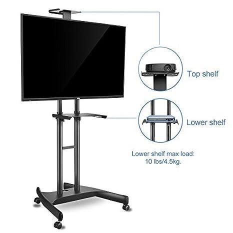 ML5073 Suptek Universal TV Carrito para LCD LED de Plasma Pantalla Plana de Soporte con Ruedas para y 2 estantes Ajustables de 32 a 60 Pulgadas