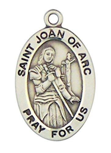 (Sterling Silver Patron Saint Joan of Arc Oval Medal Pendant, 7/8 Inch)