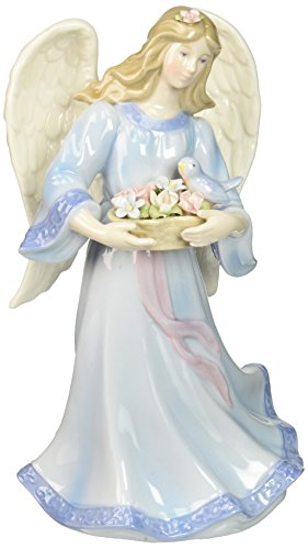Cosmos 80112 Fine Porcelain Angel with Flower Basket and Bird Musical Figurine, 8-Inch