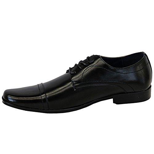 SAPHIR BOUTIQUE Herren Kunstleder Schnürer Zehenkappe Formell Elegant Absatz Formelle Schuhe Schwarz