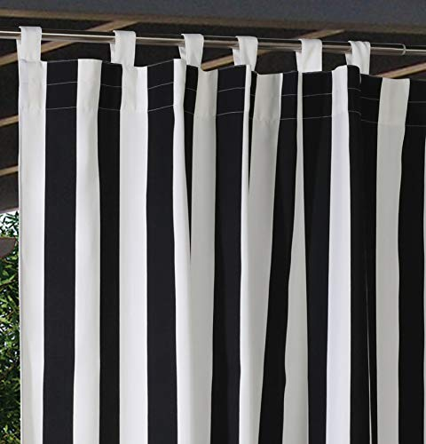 Outdoor Decor Coastal Stripe Cabana Panel with Tab Top, Black (50″ Wide by 84″ Long)