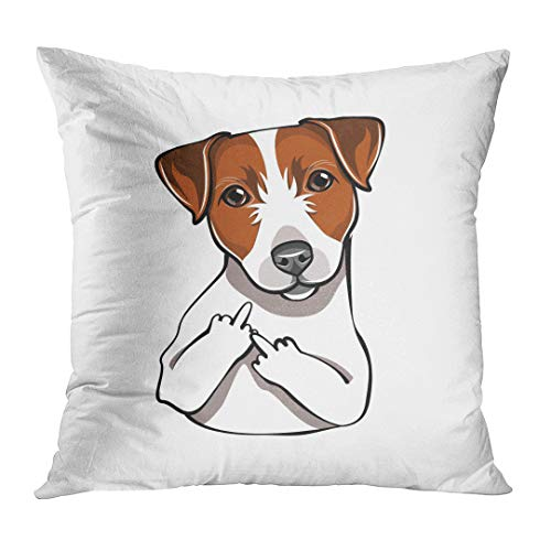 TOMKEYS Throw Pillow Cover Brown Russel Jack Russell Terrier The Middle Finger Dog Comic Cartoon Pet White Animal Adult Decorative Pillow Case Home Decor Square 20x20 Inches Pillowcase