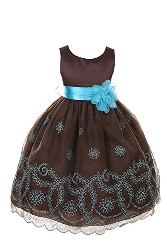 champagne and chocolate brown flower girl dresses - 1