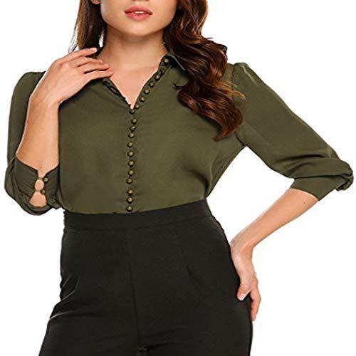 Zeagoo Womens Formal Chiffon Tee Shirt Long Sleeve V Neck Button Up Shirts Tops,Army ()