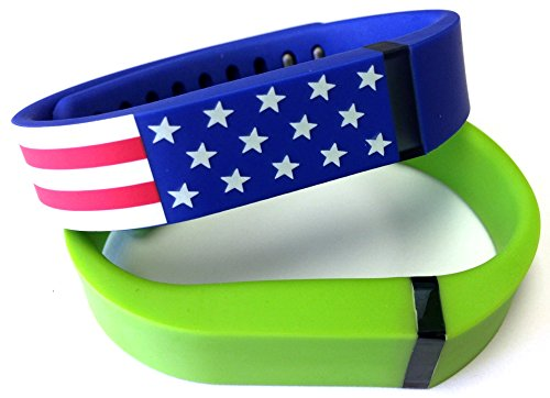 [해외]대형 1 미국 국기 1 Fitbit FLEX 전용 라임 그린 밴드 Claspps 교체 포함 트래커 없음/Large 1 American Flag 1 Lime Green Band for Fitbit FLEX Only With Clasps Replacement  No tracker