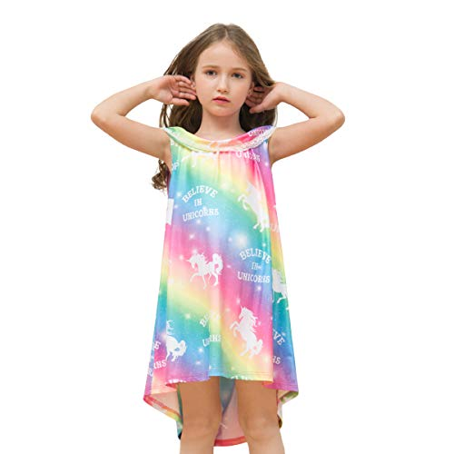 Kid Girls Unicorn Night Dress, Rainbow Princess Nightgowns Pajama, Sleeveless Sleepwear Nightie (Age: 6-7Y)