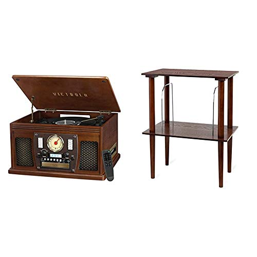 Victrola VTA-600B-ESP Navigator 8-in-1 Classic Bluetooth Record Player with USB Encoding and 3-Speed Turntable, Brown & Wooden Stand for Wooden Music Centers with Record Holder Shelf, Espresso