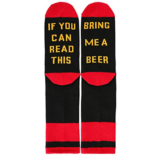 If You Can Read This Bring Me Beer Crew Socks, Novelty Funny Gag Gift for Men