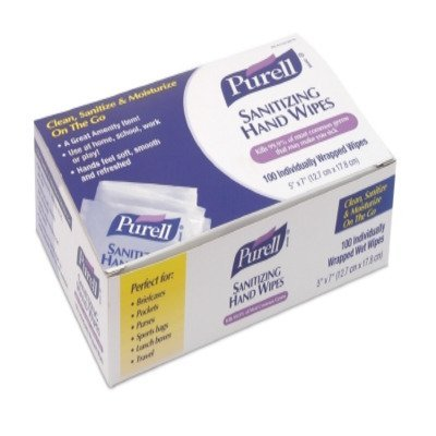 Price comparison product image Purell 9022-10 Sanitizing Hand Wipes,  Individually Wrapped (Pack of 100) (2 Boxes)