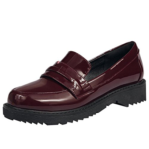 Carolbar Womens Casual Patent Leather Monks Penny Loafers Shoes Wine Red WCfCL