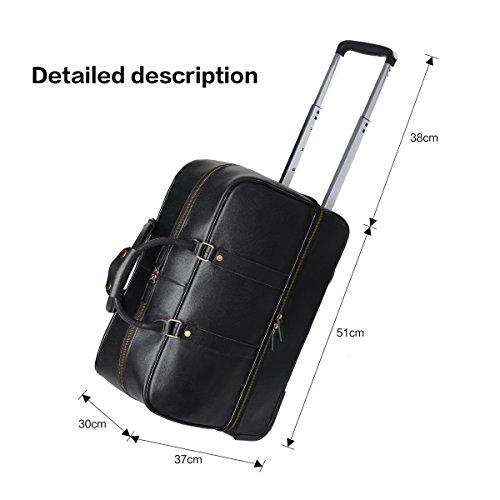 Leathario Men's Leather Luggage Wheeled Duffle, Leather Travel Bag (Black) by Leathario (Image #3)