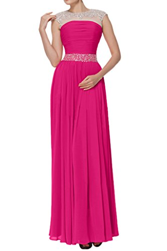 Fuchsia Chiffon Avril Wedding Straps Guest Empire Dress Glamorous Gown Tulle Long wwqaWF1nv