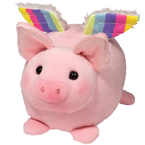 Flying Pig Toy (Douglas Plush Pig W/Rainbow Wings Macaroon Stuffed)