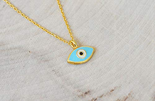 (Gold and Turquoise Evil Eye Necklace in 925 Sterling Silver)