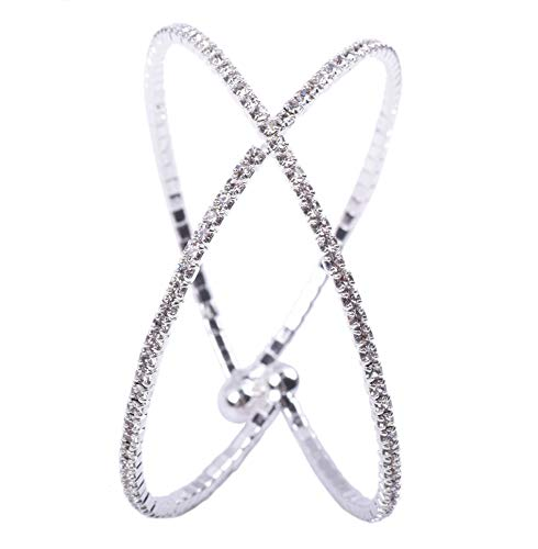 (KAOYOO Women's Crystal Rhinestone Silver Criss Cross Cuff Bracelet with Brass Base Prong 1Pcs Bangle Bracelet for Wedding,Prom(Silver))
