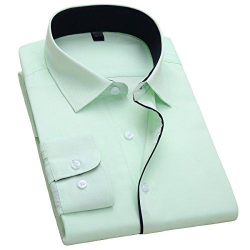 Alimens & Gentle Men's Long Sleeve Single Cuff Regular Fit Dress Shirt (15.5/32-33, Green)